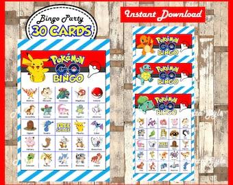 Pokemon Bingo 30 Cards, printable Pokemon Bingo game, Pokemon printable bingo cards instant download