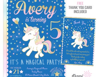 Unicorn Birthday Invitation, Magical Birthday Invitation, Printable Birthday Invitation