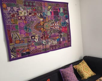 Purple patchwork wall hanging, wall tapestry, vintage wall tapestry, vintage wall decor, WH0016
