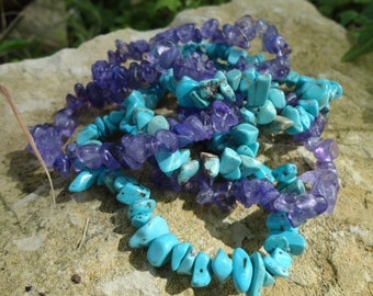 SALE 50% lot 2 Baroque, turquoise and Amethyst bracelets