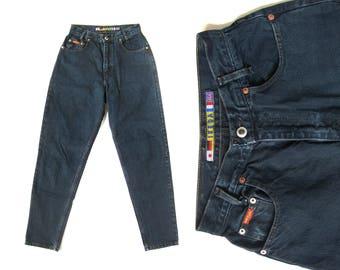 "90s IKEDA High waisted Skinny Denim Dark Blue Jeans Authentic Genuine Made in Canada (Women's 28"" Waist)"