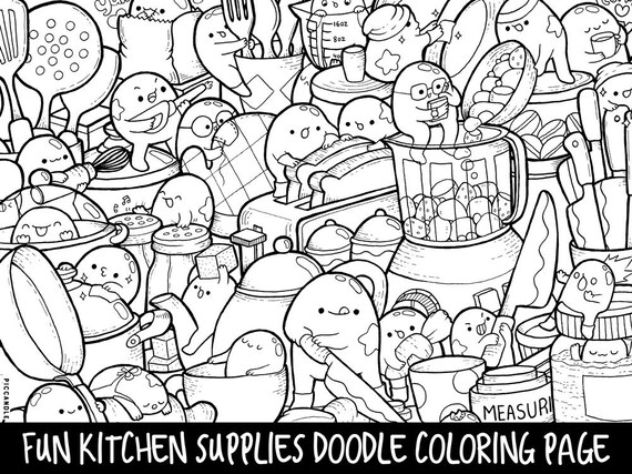 Kitchen Supplies Doodle Coloring Page Printable | Cute/Kawaii Coloring Page  For Kids And Adults