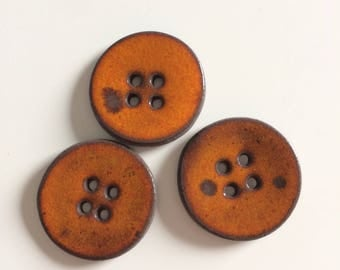 Round orange ceramic effect buttons, handmade, round button