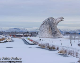 Snow, ice and The Kelpies