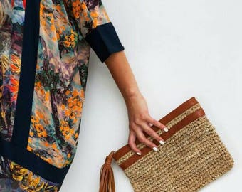Raffia Clutch Genuine Leather Tassel Handwoven Fair Trade  Sustainable Gift