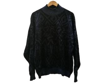 Vintage JUMPER//vintage clothing/blue/black/Large Size/1990s/unisex/Knitwear/vintage knit/winter/gift for Men