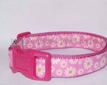 25mm Handmade pink daisy woven ribbon dog collar and lead , dog collar , girl dog collar, floral dog collar , adjustable , small , medium