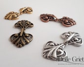 Cloak clasp brass copper silver or gold - filigree elvish - shawl closure snap hook and eye - wedding medieval steampunk elvish costume