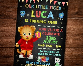 Daniel Tiger, Invitation Card, For Kids, Daniel Tiger Party Card, Editable Card