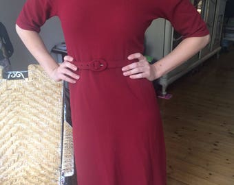 1940s dress, red oxblood burgundy 40s
