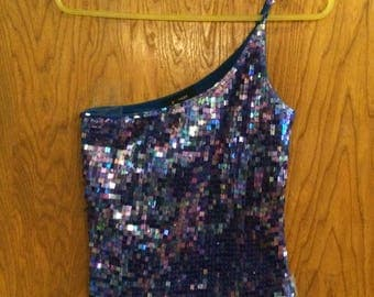 Express 1980's Vintage Blue Sequin One Shoulder Tank Top Small
