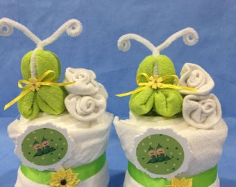 """Twin """"Two Peas in a Pod"""" Mini """"Cupcake"""" Diaper Cakes! Perfect Baby Shower Table Decorations/Centerpieces! Gift Wrapped!"""