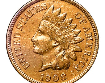 1908 Indian Head Cent - AU / BU - 3 Diamonds - Luster