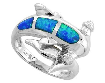 Sterling Silver Blue Opal Hammerhead Shark Statement Ring