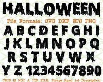 HALLOWEEN Monogram Svg Letters & Numbers, Svg Dxf Eps, Png.  Spooky Gothic Capital Letters, Monogram Letters Cricut Silhouette;Svg Cut Files