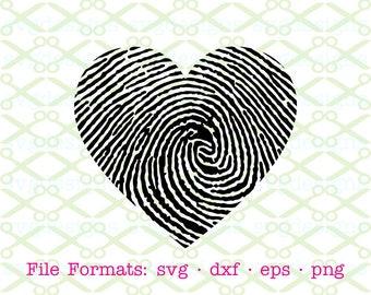 HEART SVG, Dxf, Eps & Png. Digital Cut Files for Cricut, Silhouette; Valentine Svg File, Fingerprint Svg Heart, Heart Clipart Valentines Day