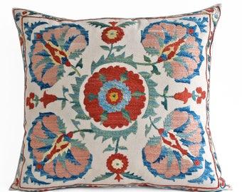 SALE! Hand Embroidery Silk Suzani pillow, Suzani Pillow Cover, Suzani Bedding, Multicolor Suzani Pillow Cover Decorative Pillow Throw Pillow