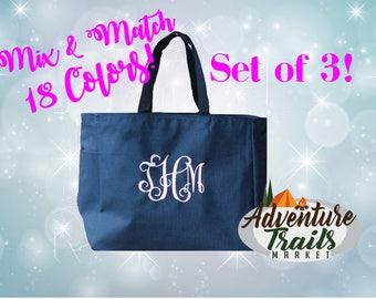 3 Bridal Party Totes, Monogrammed Tote, Set of 3, Beach Tote, Bridesmaid Tote, Wedding Tote, Wedding gift, Bridesmaid Gift, Personalized
