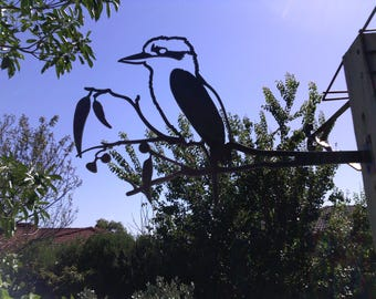 Kookaburra metal garden art ornament sculpture corten bird australian birthday gift
