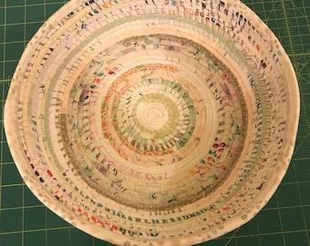 """Shabby Chic fabric selvage wrap bowl 8.5"""" base, 10.5 opening, 3"""" base"""