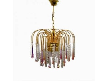 Vintage Brass Teardrop Chandelier with Pink Crystal Murano Glass, 1960's - Mid-century brass chandelier - Antique chandelier - Handblown
