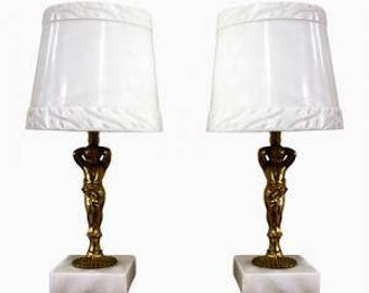 Pair of marble and brass putti table lamps 1970s - regency table lamps - pair of angel table lamps - french marble table lamps