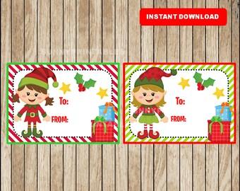 Christmas Elf Gift Tags - Christmas Favor Tags - Christmas present tags - santa tags - Instant Download