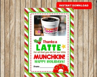 Teacher Gift Card Holder Christmas - Thanks A Latte - Printable - Instant Download