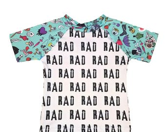 Rad Punk Whale Swim Riot Monochrome Swim Suit Baby Toddler Boy Girl Rashgaurd Top