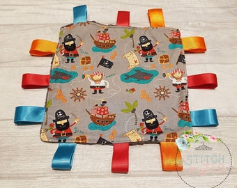 Pirate Taggie Comforter, Teething, Baby Shower, Baby Gift, Pirate, Sensory