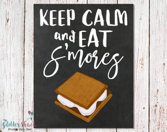 Keep Calm And Eat S'mores Chalkboard Sign, PRINTABLE Wall Art, Printable S'more Poster, Geeky Wall Decor, Funny Wall Art, INSTANT DOWNLOAD