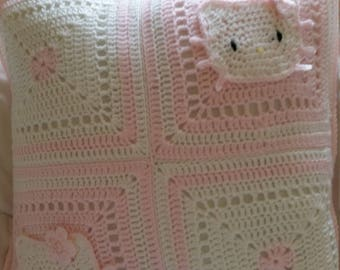 Hello Kitty Crochet Pillow (Pink/White)  [16 in x 16 in] Free Shipping