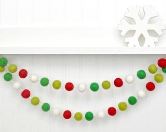 Christmas Garland, Christmas Decor, Holiday Decor, Red and Green Felt Ball Garland, Christmas Banner Christmas Party Decor Red Green White