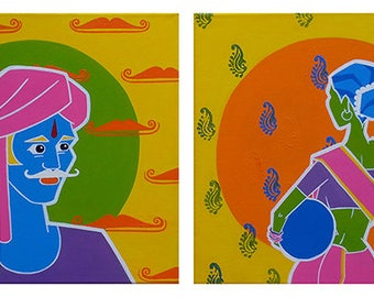 ONE FINE DAY: Original Creative Indian Pop figurative acrylic painting, Devyani Gokhale, Modern home decor furnishing ready to hang fine art