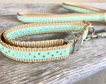 "Gold Pebbles 5/8"" Dog Collar, Pink and Gold Dog Collar, Small Breed Dog Collar, Girl Dog Collar, Woven Gold Dog Collar"