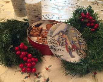 Sweet Bars in a Cookie Tin, Christmas Cookie Tin, Nut Free Christmas Cookies, Cookie Care Package Cookie Gift Basket, Christmas Hostess Gift