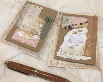 Mixed Media Vintage Lace and Ephemera Gift Cards - Set of 2 (#03)