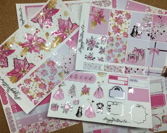 Sweet Xmas Pink and Silver Foiled ERIN CONDREN VERTICAL Weekly Decorative Sticker Set