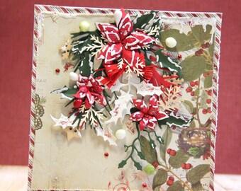 Shabby chic Christmas card with handmade poinsettias and false snow