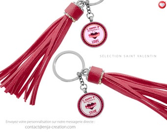 Duo Keyring personalized with the names of your choice - gift Valentine's day