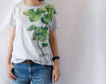 Foliage plant Ficus umbellata woman T-shirt  hand-painted Handmade made in Japan Green
