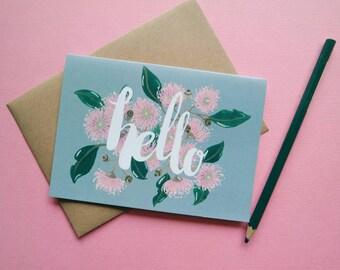 Hello Gumnut Blossoms Australian Greeting Card / recycled / eco / wildflower / australiana / flower / illustrated