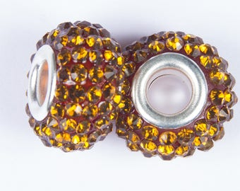 Amber 2 beads style European o15 with crystals