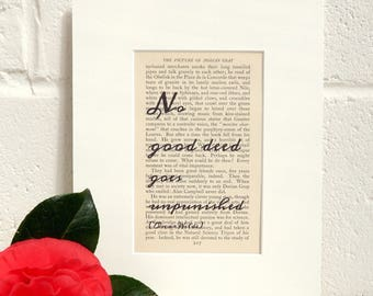 Amusing Vintage Book Print - Oscar Wilde Quote Print - Antique Book Art - Witty Quote Print - Literary Print - Book Lover Gift