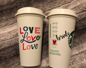 Bride and Groom Starbucks Tumbler * Valentine's Day Design*