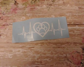 Heartbeat Paw Print Decal
