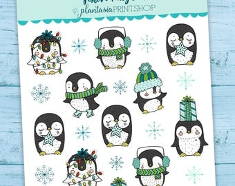 Festive Penguin, Penguin Stickers, Planner Stickers, Christmas Stickers, Plantasia PrintShop, Winter Stickers, Hand Drawn Doodles, Holidays
