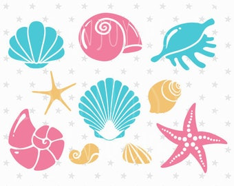 Sea shells svg file Sea shells svg Sea Life svg Starfish svg Sea star svg Mermaid svg Mermaid Shells SVG Silhouette Vector Cut Files Cricut