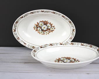 Two Vintage Vegetable Bowls, Pair of Serving Dishes, Fairfax by Harmony House China, Thanksgiving, Fall 3.6