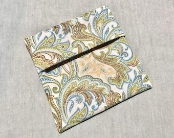 Cloth Pad Wrapper - Mini Wet Bag - PUL Pad Wrapper - Brown/Green Paisley Pad Wrapper